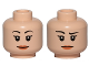 Part No: 3626cpb1438  Name: Minifigure, Head Dual Sided Female with Black Eyebrows, Pink Lips, Smile / Concern with Raised Right Eyebrow Pattern - Hollow Stud