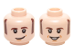 Part No: 3626cpb1460  Name: Minifigure, Head Dual Sided Dark Brown Sideburns and Eyebrows, White Pupils with Lopsided / Open Smile Pattern (Howard Wolowitz) - Hollow Stud