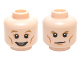 Part No: 3626cpb1464  Name: Minifigure, Head Dual Sided Dark Tan Eyebrows, White Pupils, Cheek Lines with Open Mouth Smile / Determined Pattern - Hollow Stud