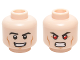 Part No: 3626cpb1470  Name: Minifigure, Head Dual Sided Black Eyebrows, Cheek Lines, Chin Dimple, Open Mouth Smirk / Bared Teeth with Red Eyes Pattern (Hyperion) - Hollow Stud