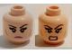 Part No: 3626cpb1479  Name: Minifigure, Head Dual Sided Female Black Eyebrows, Eyelashes, Pink Lips, Cheek Lines, Frown / Bared Teeth Pattern (Karai) - Hollow Stud