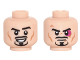 Part No: 3626cpb1481  Name: Minifigure, Head Dual Sided Moustache, Goatee and Cheek Lines, Eyebrow Raised / Frown and Magenta Black Eye Pattern - Hollow Stud