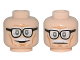 Part No: 3626cpb1520  Name: Minifigure, Head Dual Sided Black Frame Glasses, White Moustache, Wrinkles, Cheek Lines, Smile / Frown Pattern (Alfred) - Hollow Stud