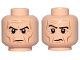 Part No: 3626cpb1573  Name: Minifigure, Head Dual Sided Black Eyebrows, Dark Orange Wrinkles, Stern / Raised Right Eyebrow Pattern (Grand Moff Tarkin) - Hollow Stud