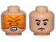 Part No: 3626cpb1614  Name: Minifigure, Head Dual Sided Orange Visor, Angry / Brown Eyebrows, Frown Pattern (SW Rebel A-wing Pilot) - Hollow Stud