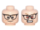 Part No: 3626cpb1630  Name: Minifigure, Head Dual Sided Black Glasses, Dark Tan Eyebrows, Stubble Beard, Smile / Red Eyes, Angry Pattern (Kevin Beckman) - Hollow Stud