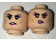 Part No: 3626cpb1650  Name: Minifigure, Head Dual Sided Female with Black Eyebrows, Purple Eye Shadow and Pink Lips, Neutral / Red Eyes Pattern - Hollow Stud