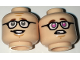 Part No: 3626cpb1651  Name: Minifigure, Head Dual Sided Black Glasses, Reddish Brown Eyebrows,  Sheepish Grin / Dark Pink Eyes Pattern - Hollow Stud