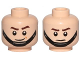 Part No: 3626cpb1655  Name: Minifigure, Head Dual Sided SW Brown Eyebrows, Black Chin Strap, Smile / Frown Pattern - Hollow Stud