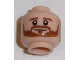 Part No: 3626cpb1669  Name: Minifigure, Head Beard Brown Bushy Full, Brown Eyebrows, White Pupils, Smile Pattern (Shkodran Mustafi) - Hollow Stud