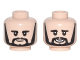 Part No: 3626cpb1684  Name: Minifigure, Head Dual Sided Black Eyebrows, Sideburns and Goatee, Neutral / Smiling Pattern (George) - Hollow Stud