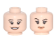 Part No: 3626cpb1689  Name: Minifigure, Head Dual Sided Female Black Eyebrows and Long Eyelashes, Peach Lips, Open Smile / Closed Mouth, Eyebrow Raised Pattern - Hollow Stud