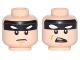 Part No: 3626cpb1695  Name: Minifigure, Head Dual Sided Black Headband with Squinted Batman Eyes, Stern / Open Mouth Angry Pattern - Hollow Stud