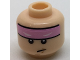 Part No: 3626cpb1709  Name: Minifigure, Head Bright Pink Headband with Squinted Batman Eyes Pattern - Hollow Stud