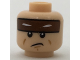 Part No: 3626cpb1710  Name: Minifigure, Head Reddish Brown Headband with Squinted Batman Eyes, Sad Mouth Pattern - Hollow Stud