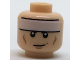 Part No: 3626cpb1711  Name: Minifigure, Head White Headband and Cheek Lines, Smirk Pattern (Batman) - Hollow Stud
