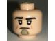 Part No: 3626cpb1724  Name: Minifigure, Head Black Eyebrows, Medium Nougat Cheek Lines, Dark Tan Chin Ornament Pattern - Hollow Stud
