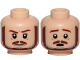 Part No: 3626cpb1729  Name: Minifigure, Head Dual Sided Brown and Gray Beard, Brown Eyebrows, Moustache, White Pupils, Frown / Scared Pattern (SW Qui-Gon) - Hollow Stud