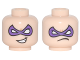 Part No: 3626cpb1732  Name: Minifigure, Head Dual Sided Dark Purple Eye Mask Pointed, Crooked Mouth Grin / Frown Pattern (Riddler) - Hollow Stud