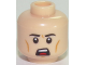 Part No: 3626cpb1737  Name: Minifigure, Head Male Black Eyebrows, White Pupils, Chin Dimple, Open Mouth Scowl Pattern - Hollow Stud