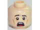 Part No: 3626cpb1738  Name: Minifigure, Head Male Black Eyebrows, White Pupils, Chin Dimple, Open Mouth Surprised / Scared Pattern - Hollow Stud