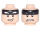 Part No: 3626cpb1739  Name: Minifigure, Head Dual Sided Black Headband, Squinted Batman Eyes, Crooked Smile / Gray Eyebrows and Clenched Teeth Pattern (Batman) - Hollow Stud
