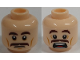 Part No: 3626cpb1743  Name: Minifigure, Head Dual Sided Brown Eyebrows, Moustache, White Pupils, Scared Pattern - Hollow Stud
