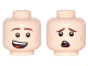 Part No: 3626cpb1765  Name: Minifigure, Head Dual Sided Brown Eyebrows, Dark Tan Dimples, Lopsided Smile / Scared Pattern - Hollow Stud