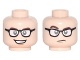 Part No: 3626cpb1773  Name: Minifigure, Head Dual Sided Black Glasses with White Lenses, Dark Brown Eyebrows, Open Mouth Smile / Closed Mouth, Raised Eyebrow Pattern - Hollow Stud