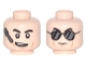 Part No: 3626cpb1774  Name: Minifigure, Head Dual Sided Black Eyebrows, Cheek Lines, Headset and Crooked Smile / Black Sunglasses with Reflections Pattern - Hollow Stud