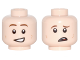 Part No: 3626cpb1776  Name: Minifigure, Head Dual Sided Brown Eyebrows, Dark Tan Dimples, Crooked Smile / Crooked Frown, Worried Pattern - Hollow Stud