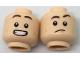 Part No: 3626cpb1789  Name: Minifigure, Head Dual Sided Dark Brown Eyebrows, Dark Orange Dimples, Confused / Smile with Teeth Pattern - Hollow Stud