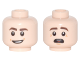 Part No: 3626cpb1794  Name: Minifigure, Head Dual Sided Dark Brown Eyebrows, Open Mouth Smile / Raised Eyebrows, Open Mouth with Red Tongue Apprehensive Pattern - Hollow Stud