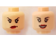 Part No: 3626cpb1896  Name: Minifigure, Head Dual Sided Female Black Eyebrows, Eyelashes, Red Lips, Annoyed / Open Mouth Smile Pattern - Hollow Stud
