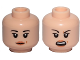 Part No: 3626cpb1910  Name: Minifigure, Head Dual Sided Female Black Eyebrows, Light Orange Lips and Beauty Mark, Neutral / Angry Pattern (SW Rose) - Hollow Stud