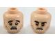 Part No: 3626cpb1938  Name: Minifigure, Head Dual Sided Dark Brown Eyebrows and Stubble, Dark Orange around Eyes, Scared / Sneer Pattern - Hollow Stud