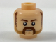 Part No: 3626cpb1952  Name: Minifigure, Head Dark Brown Eyebrows, Sideburns, Moustache, Medium Nougat Stubble Pattern - Hollow Stud