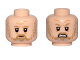 Part No: 3626cpb1998  Name: Minifigure, Head Dual Sided, Dark Tan Moustache and Beard with Gray Pattern, Sad / Angry Pattern (SW Luke Skywalker) - Hollow Stud
