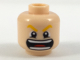 Part No: 3626cpb2006  Name: Minifigure, Head Bright Light Orange Eyebrows, Wide Open Mouth with Teeth and Red Tongue Pattern - Hollow Stud