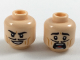 Part No: 3626cpb2013  Name: Minifigure, Head Dual Sided Black Eyebrows and Pencil Moustache, Dark Orange Cheek Lines, Smile / Scared Pattern - Hollow Stud