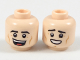 Part No: 3626cpb2024  Name: Minifigure, Head Dual Sided Black Eyebrows, Dark Orange Cheek Lines, Open Mouth Smile / Sheepish Grin Pattern - Hollow Stud