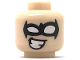 Part No: 3626cpb2033  Name: Minifigure, Head Black Eye Mask with White Eye Holes and Cheesy Smile Pattern (Nightwing) - Hollow Stud
