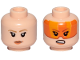 Part No: 3626cpb2059  Name: Minifigure, Head Dual Sided Female Dark Tan Eyebrows, Orange Lips, Frown Pattern / Orange Visor, Angry (SW Resistance A-wing Pilot) - Hollow Stud