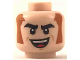 Part No: 3626cpb2064  Name: Minifigure, Head Black Eyebrows, Dark Orange Sideburns, Big Smile with Red Tongue Pattern - Hollow Stud