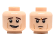 Part No: 3626cpb2067  Name: Minifigure, Head Dual Sided Male Dark Brown Eyebrows, Cheek Lines, Open Smile/Frown Pattern - Hollow Stud