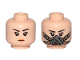 Part No: 3626cpb2091  Name: Minifigure, Head Dual Sided Female, Black Eyebrows, Orange Lips / Pilot Breathing Mask Pattern - Hollow Stud