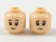 Part No: 3626cpb2104  Name: Minifigure, Head Dual Sided Female Black Eyebrows, Freckles, Happy / Sad Pattern - Hollow Stud
