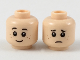 Part No: 3626cpb2105  Name: Minifigure, Head Dual Sided Black Eyebrows, Dark Brown Small Freckles, Happy / Sad Pattern - Hollow Stud