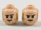 Part No: 3626cpb2124  Name: Minifigure, Head Dual Sided Medium Nougat Sideburns, Moustache, and Stubble, Raised Left Eyebrow, Smile / Firm Expression Pattern - Hollow Stud