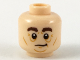 Part No: 3626cpb2167  Name: Minifigure, Head Dark Brown Eyebrows, Dark Orange Contour Lines and Chin Pattern - Hollow Stud